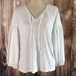 GAP Tops - GAP Front Tie Long Bell Sleeves Soft Tunic Blouse